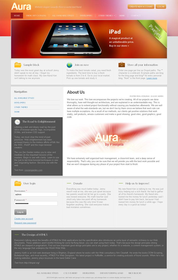Aura Drupal theme
