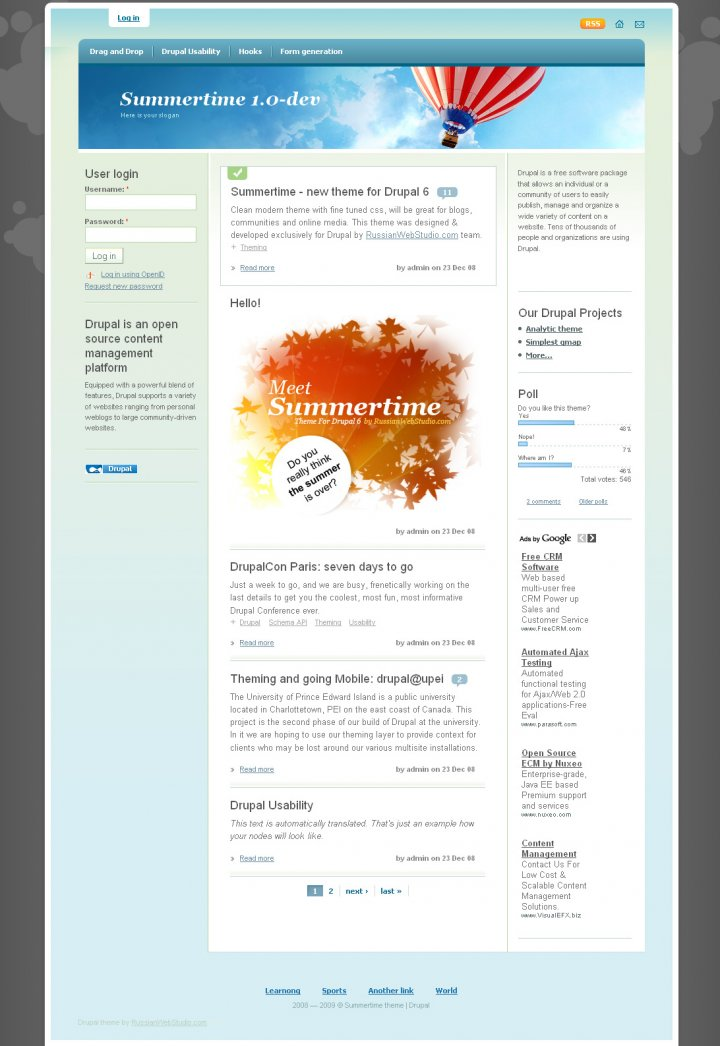 Summertime Drupal theme